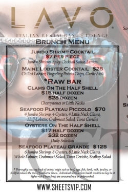 Lavo Brunch Food Menu