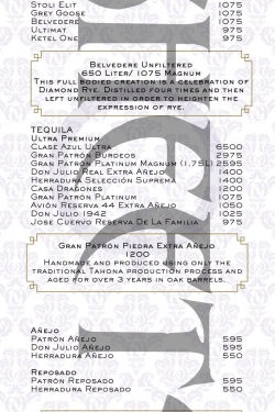 Marquee Bottle Menu - Sheets VIP