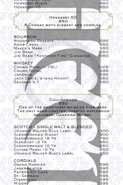 Marquee Nightclub Vodka menu