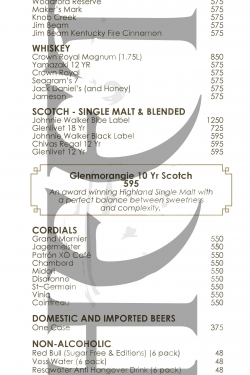 Tao Nightclub Bottle Menu 1